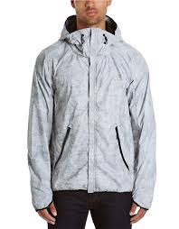 Bench Windbreaker Bench Reflector Abstract Print Hooded Jacket In Metallic For Men