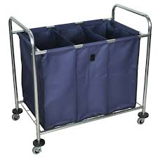 3 Section Laundry Hamper by Commercial Laundry Carts On Wheels