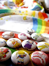rainbow brite and the color kids set of nine buttons or magnets