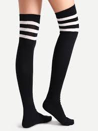 black varsity stripe the knee socks shein sheinside