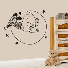 creative new diy cute mickey mouse moon goodnight wall stickers