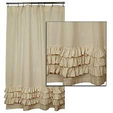 Cynthia Rowley Ruffle Shower Curtain New French Country Bath Fabric Tan Flax Ruffled Shower Curtain