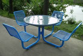 outdoor chair with table attached glass top round riverside park picnic table with metal base and