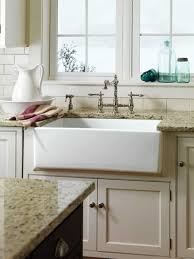 White Granite Kitchen Sink Kitchen With Granite Countertops And White Farmhouse Sink