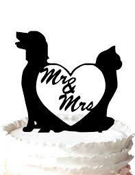 wedding cake topper with dog cake topper dog and cat with mr and mrs silhouette wedding cake