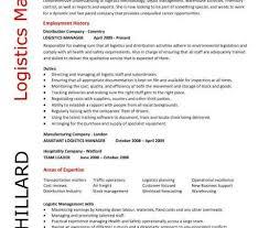 Resume For Logistics Executive Logistics Manager Resume Personal Statement Writing Resume