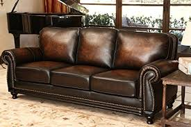 Abbyson Leather Sofa Reviews Abbyson Barclay Rubbed Leather Sofa Home Kitchen