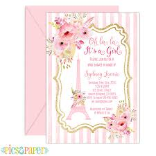 pink and gold baby shower invitations baby shower invitation with eiffel tower in pink and gold