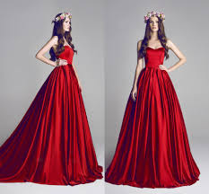 Red Wedding Dresses Simple Ball Gown Red Wedding Dresses For Bride With Ruffle Taffeta