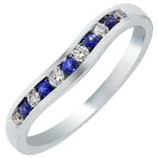 sapphire wedding ring curved and sapphire wedding band in 14kt white gold 1 4ct tw