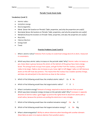 what ability did the periodic table have name per date periodic trends study guide vocabulary