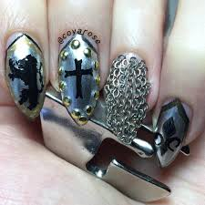 free hand nail art toturial fantasy butterflies medieval armor chainmail nail art free hand acrylic paint