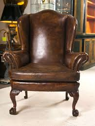 Vintage Brown Leather Chair Chesterfield Dorchester High Back Wing Chair Antique Green Leather
