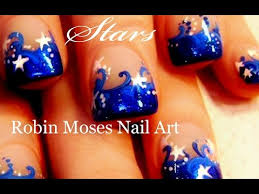 nail art stars blue and white star nails art design tutorial