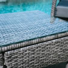 3pc rattan wicker bistro sofa set coffee table chair outdoor patio