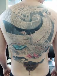 black and grey great wall of china tattoo design for leg calf