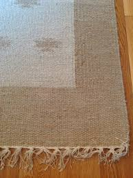 Hand Loomed Rug Hand Loomed Recycled Cotton Yarn Rug In Cream U0026 Beige In Various Sizes