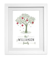 personalised family tree print picture hearts name ready to frame