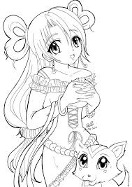 pretty cute anime girls coloring pages for kids womanmate com