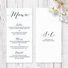 wedding menus and programs modern navy and white wedding or corporate menu script fonts