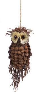 7 5 modern lodge pine cone and twig owl ornament
