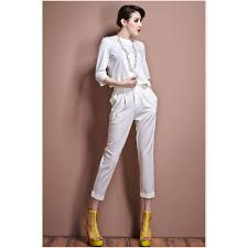 fashion trends suit white dress pants for women with high neck 3