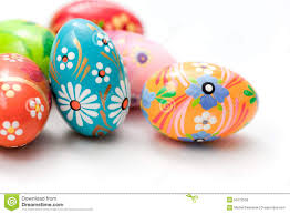 painted easter eggs painted easter eggs on white patterns stock photo