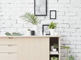 plants for living room wall art london chairs white painted brick light wood cabinet