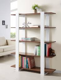 furniture of america open anetta 5 tier white and walnut bookshelf