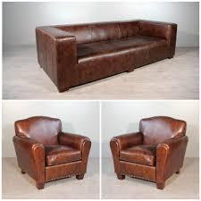 canapé moustache ensemble canapé avec 2 fauteuils en cuir marron vintage patiné