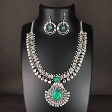 stone silver necklace images German silver stone traditional necklace set paramparik jevar jpeg