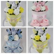 Unisex Gifts Baby Boy Unisex Clothes Flower Bouquet Nappy Cake New Born