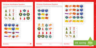 christmas algebra differentiated activity sheets algebra