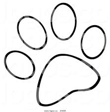 royalty free logo of a black and white dog paw print by hit toon