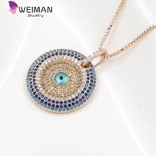 blue eye necklace images Large blue round cubic zirconia micro pave setting evil eye jpg