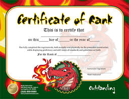 karate certificate template martial arts rank certificates