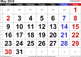 may calendar with holidays best 2017