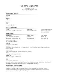 Special Skills Theatre Resume Performer Resume