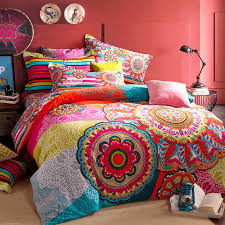 Indian Print Duvet Red Blue And Yellow Colorful Bohemian Tribal Circle Print Indian