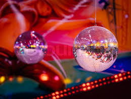 ball with light inside two disco balls inside disco club sparkling light and good
