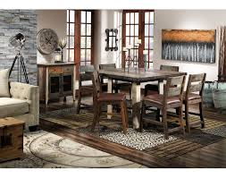 Allison Pine Piece PubHeight Dining Room Set Antiqued Pine - Pine dining room table
