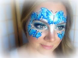 blue butterflies makeup and painting painting