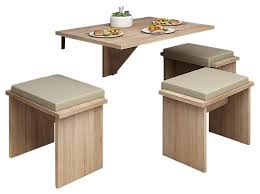 Drop Leaf Folding Table 4 Piece Wall Mounted Drop Leaf Folding Table Set 3 Stools
