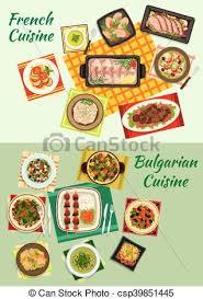 cuisine bulgare cuisine bulgare plats francais dîner icône fish vecteur