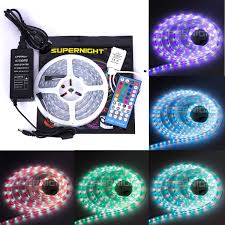 led light strip kits amazon com supernight 16 4ft 5050 300leds waterproof ip67 rgbw