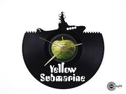 beatles home decor the beatles clock yellow submarine vinyl record clock u2013 revinylit