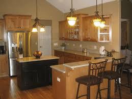 oak wood kitchen cabinets conical ceiling lamp sleek