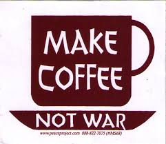 Coffee War make coffee not war small bumper sticker decal 3 5 x 3