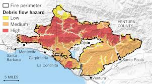 Nfl Coverage Map Show The Mudslide And Debris Flow Threat From The Thomas Fire