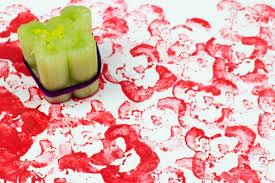 printing flowers with celery stalks vegetable printing mum in